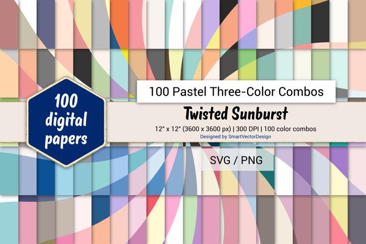 Twisted Sunburst Digital Paper-100 Pastel Three-Color Combos