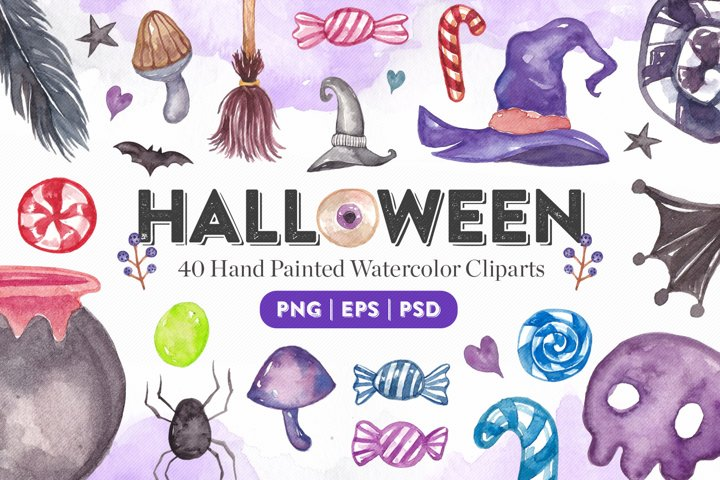 Halloween Watercolor Elements Bundle