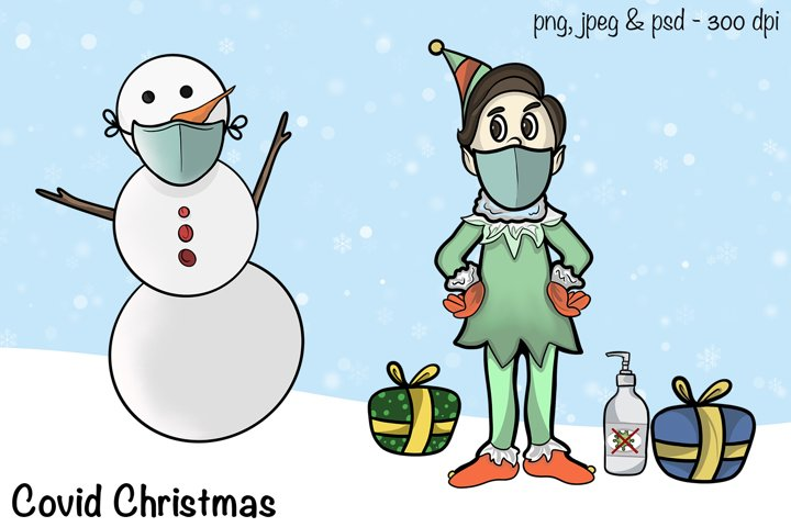 Covid Christmas - Elf and Snowman with Mask