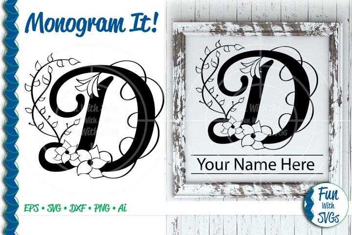 SVG Monogram Letter D, Vector, Cut File, Clip Art, FWS353