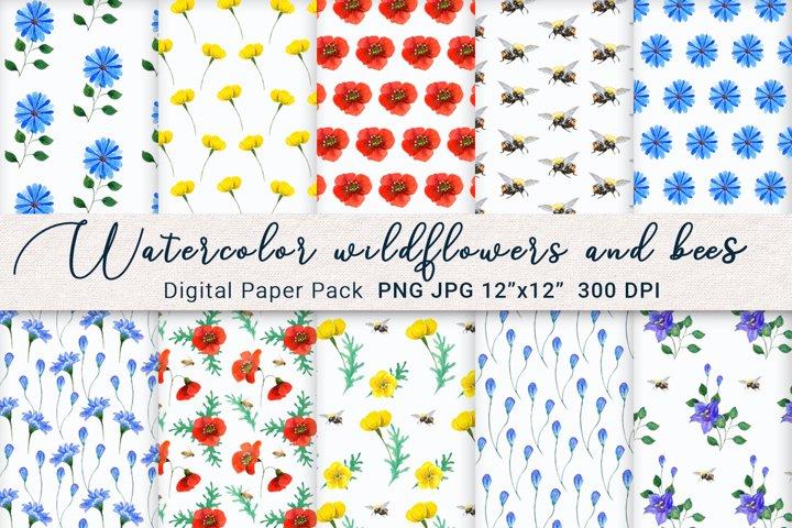Watercolor Meadow Wildflowers and Bees Digital Paper Bundle