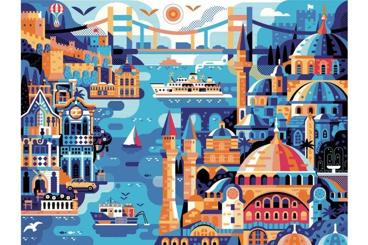 Istanbul Horizontal Travel Poster