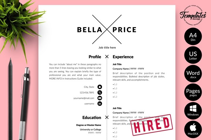 Simple Resume CV Template for Word & Pages Bella Price