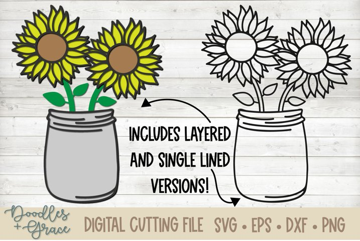3D Layered Sunflower Bouquet - SVG - PNG - EPS - DX