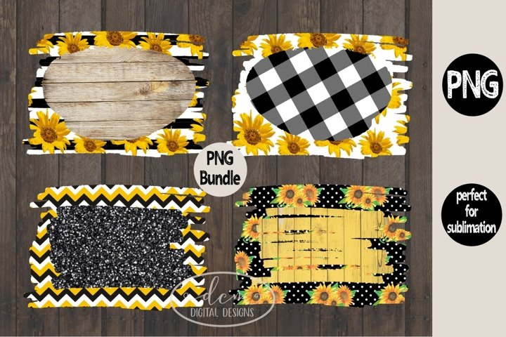 Sunflower Backgrounds Glitter Wood Chevron sublimation PNG