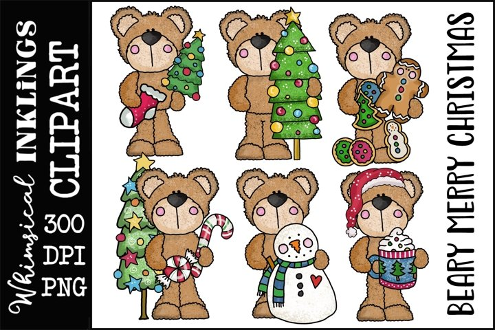 Beary Merry Christmas Sublimation Clipart