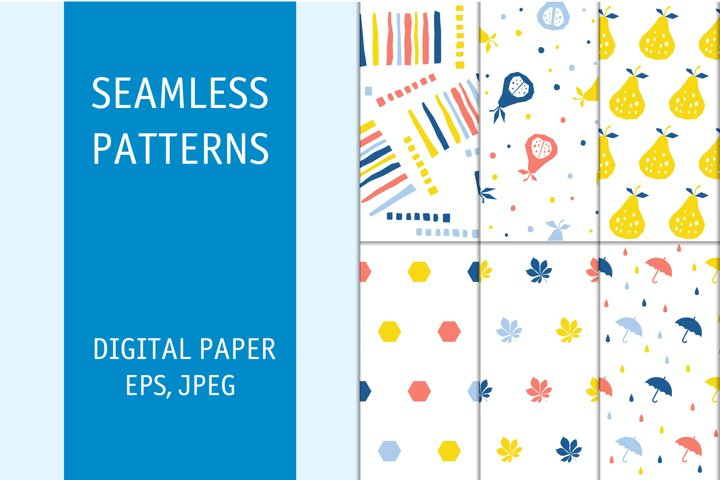 Seamless pattern set. Digital downloadable vector prints