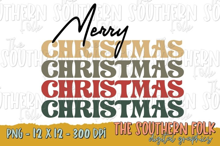 Retro Merry Christmas PNG File, Sublimation Design