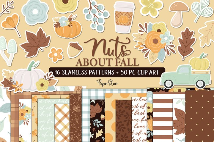 Seamless Fall Digital Paper Clipart Set