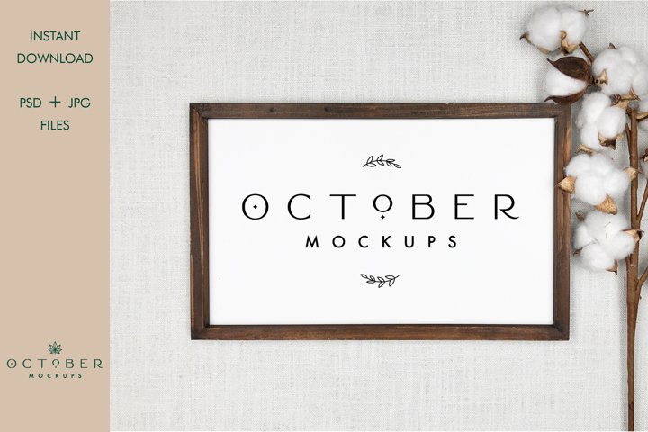Farmhouse Sign Mockup PSD and JPG | Wooden Frame Mockup
