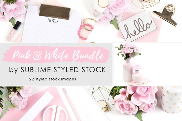 Pink and White Styled Stock Photo Bundle - 22 Images