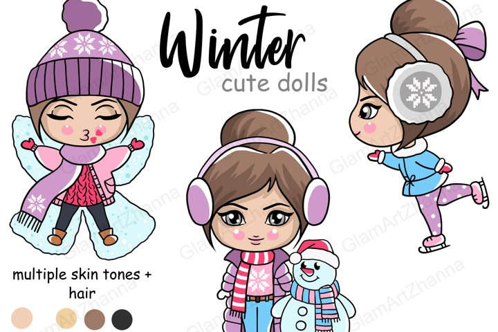 Winter CUTE DOLLS Christmas Snowy Holiday Clipart PNG Files