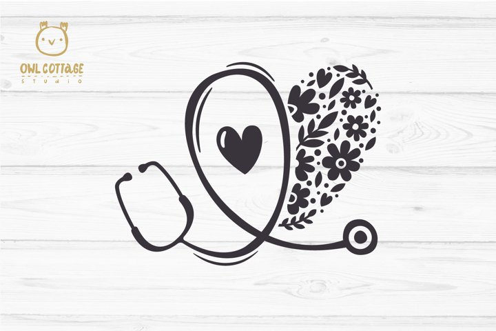 Floral Stethoscope SVG, Nurse Floral SVG, Nurse Tattoo - Free Design of The Week Design5