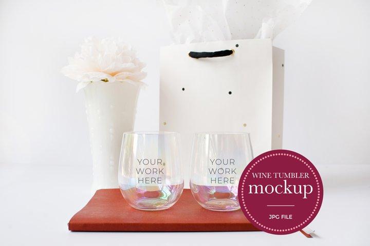 Wine Glass Mockup | Stemless Wine Glass Tumbler | JPG