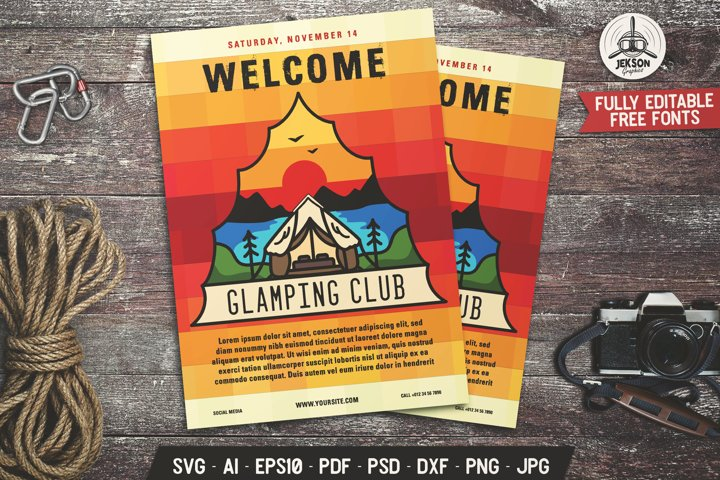 Glamping Club SVG Template Vintage Adventure Poster DXF PNG