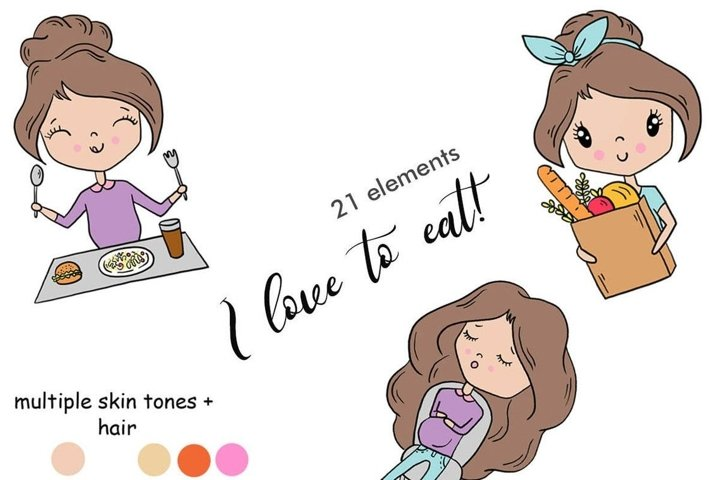 Functional Girls I LOVE TO EAT Self Care Food StIckers - PNG