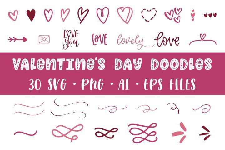 30 Valentines Doodles, SVG PNG Files