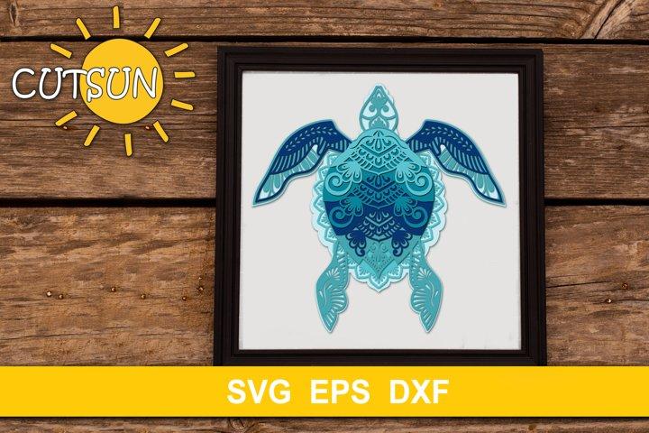 3D Layered Mandala Turtle cut file six layers