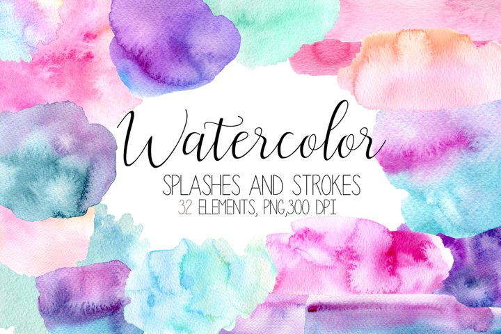 Watercolor splashes and Blobs, Watercolor Strokes