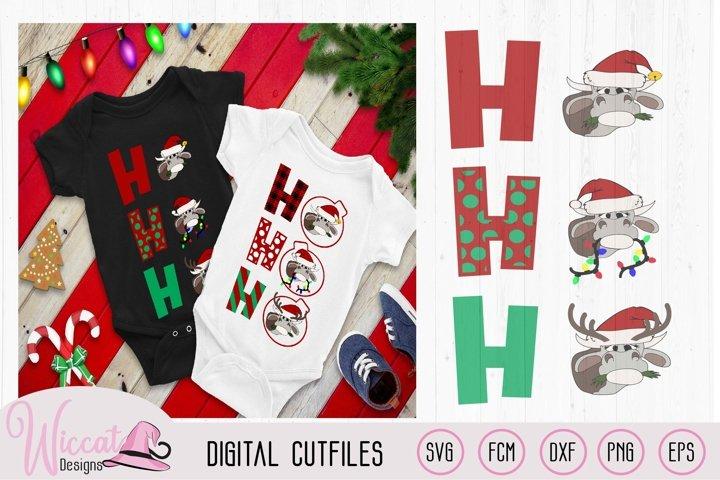 Ho Ho Ho Christmas Heifer cut file, cow with christmas light