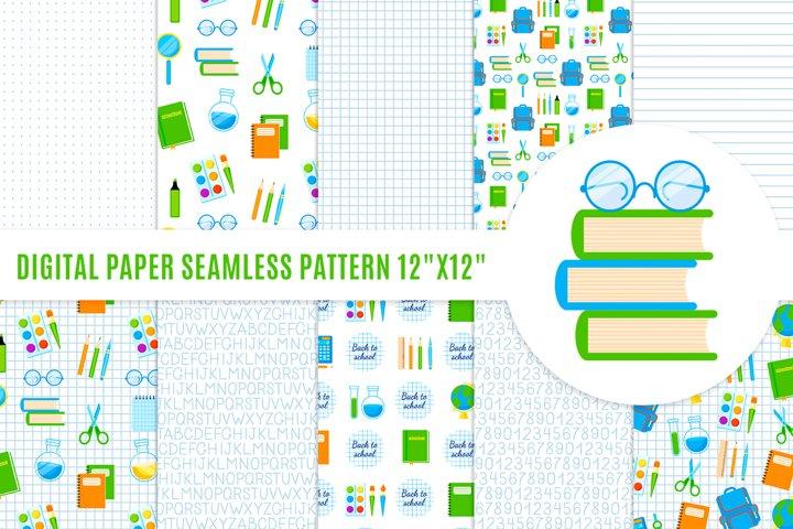 School digital paper. Stationery supplies seamless pattern