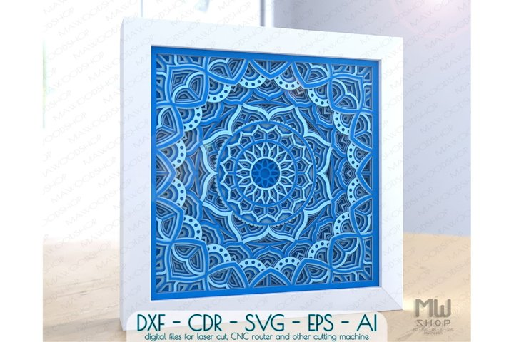 M148 - Multilayer Mandala Pattern Shadow Box Mandala SVG DXF