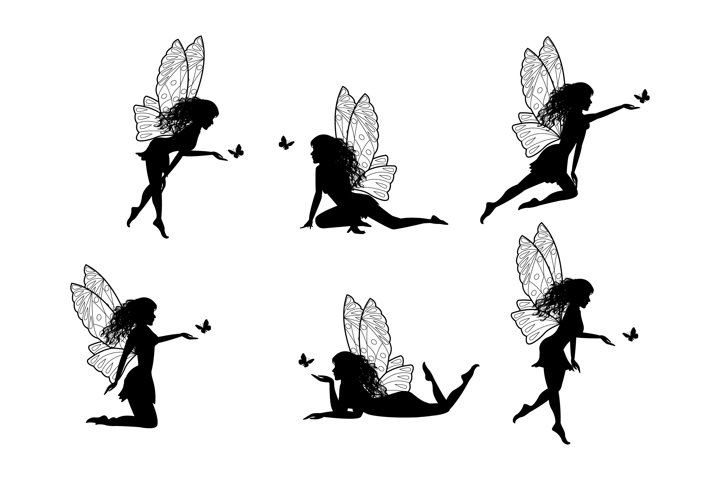 cute fairy and butterfly silhouette collection