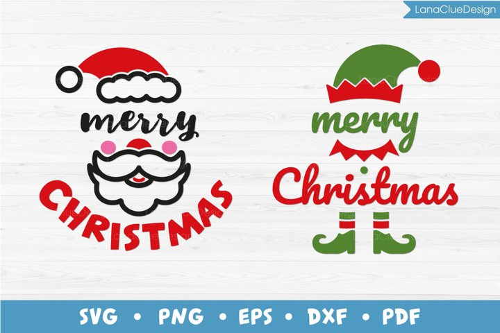 Merry Christmas - Santa and Elf - 2 items, Christmas SVG