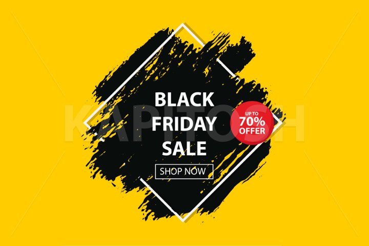 3d comic book black friday sale banner with grunge brush