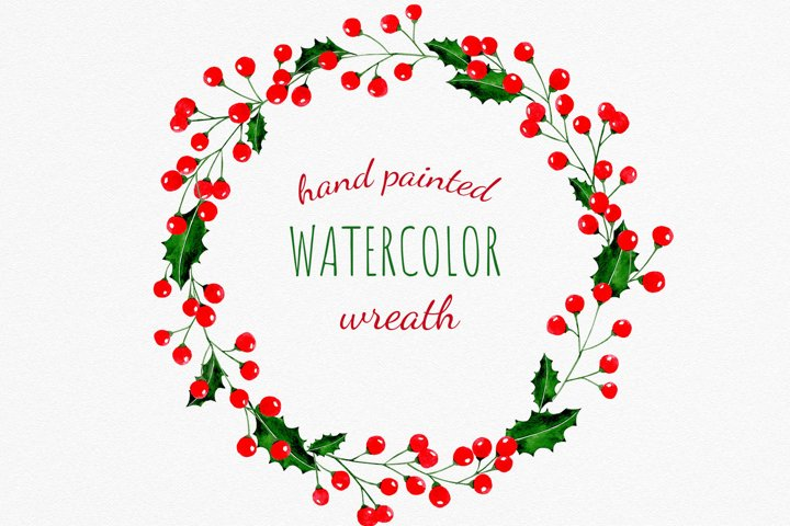 Christmas wreath clipart. Holly leaves and red berries