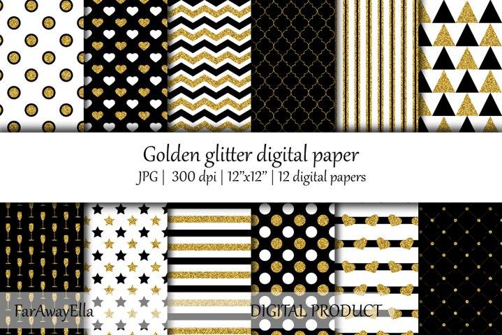 Golden glitter JPG digital paper   12 seamless backgrounds