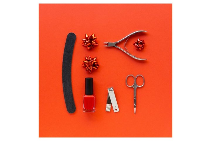 Christmas flat lay of manicure accessories