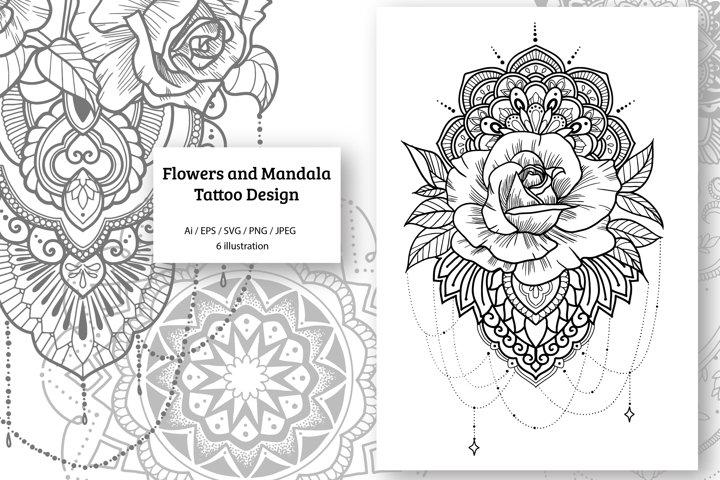 Flowers and Mandala Design Set Vector