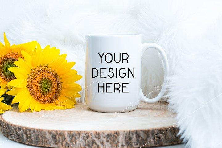15 Oz Blank White Coffee Cup with White Handle Mug Mockup