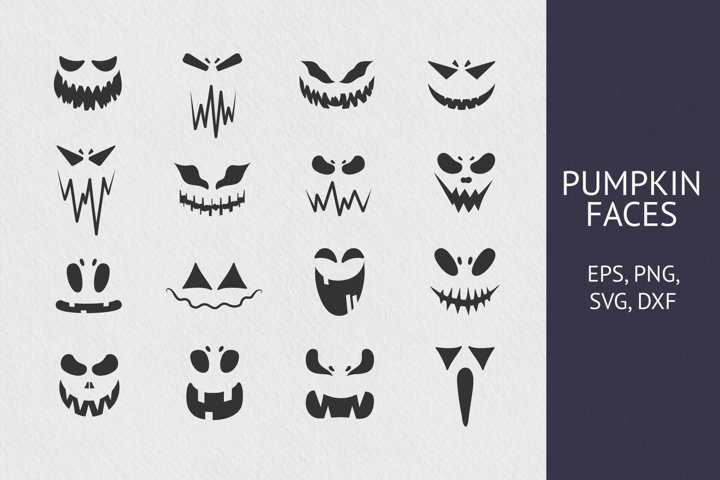 16 Hand drawn Pumpkin Faces Collection