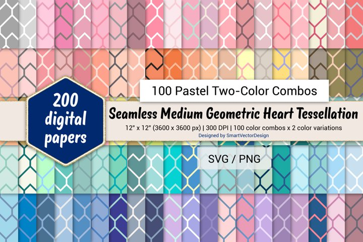 Geometric Heart Tessellation - 100 Pastel Two-Color Combos