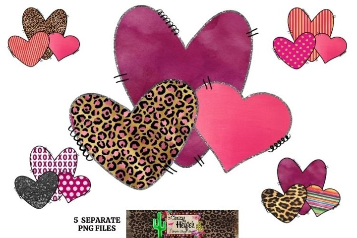 Valentines Day Heart Elements Dye Sublimation Bundle