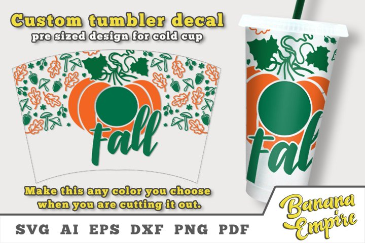 Pumpkin cold cup decal, Fall svg, Pumpkin, Sublimation