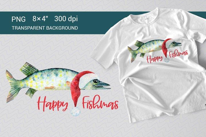 Happy Fishmas. Watercolor design for sublimation.