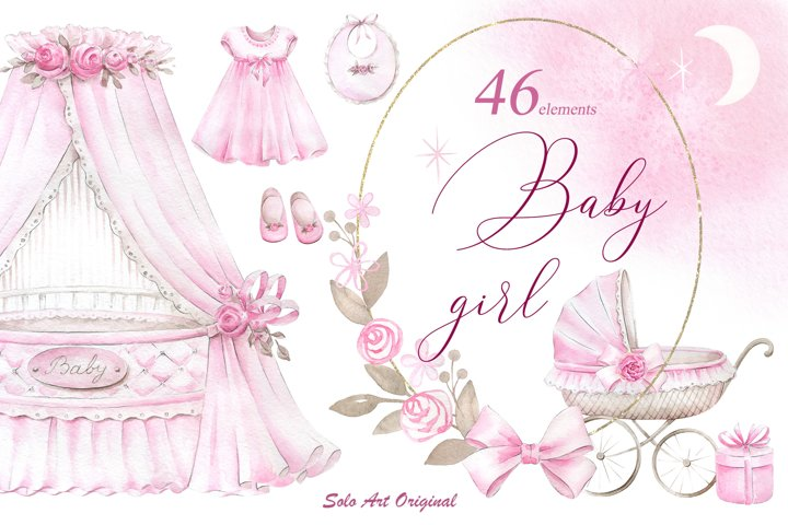 Newborn Baby Girl clipart set.