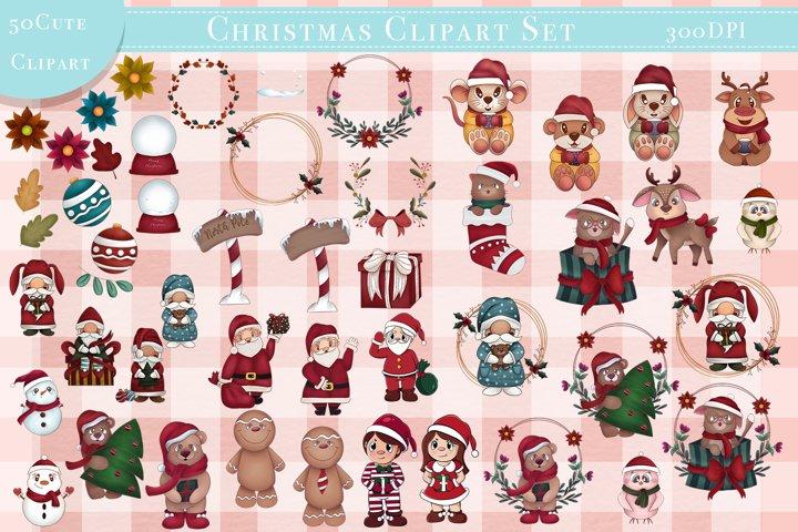 Big Bundle Christmas Clipart Set and Digital paper
