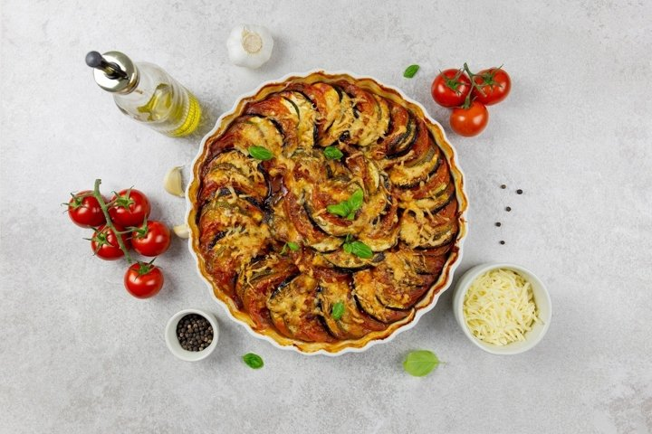Photo of traditional french dish ratatouille. Flat lay.