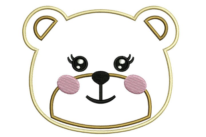 Girl Bear Face machine embroidery designs