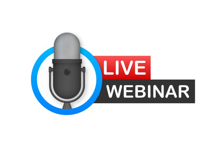 Live Webinar Button, icon, emblem, label.