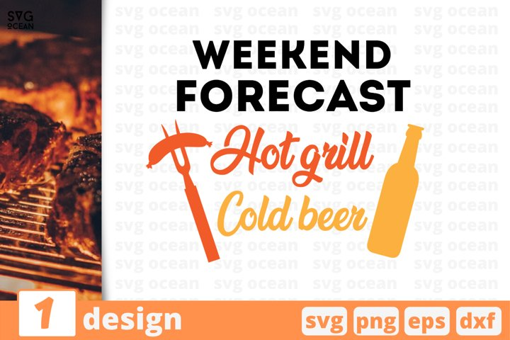 Weekend forecast hot grill cold beer svg vector
