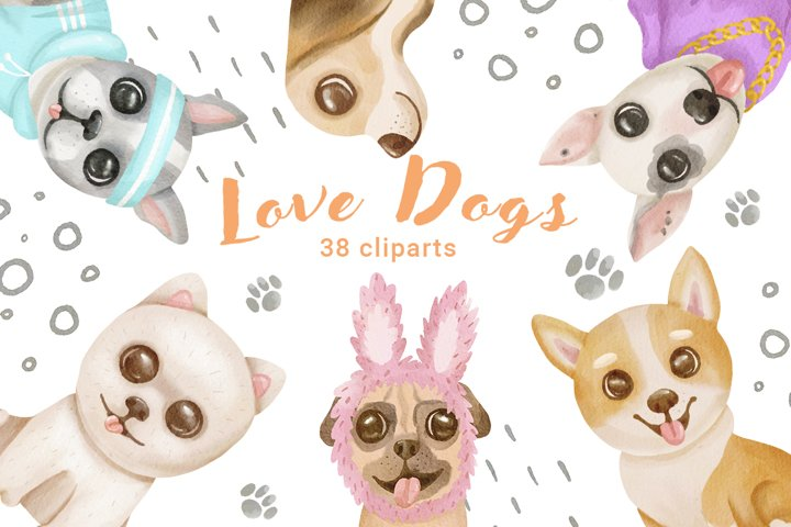 Watercolor dogs cliparts, dogs in cute clothes, creator, png