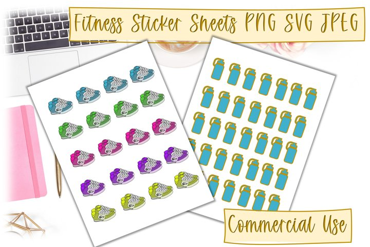 Fitness Stickers cut file sheets PNG SVG JPEG