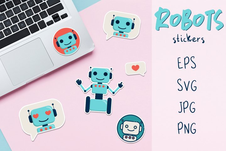 Cute robots stickers for boys