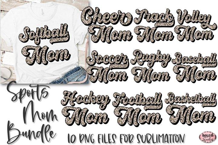 Sports Mom Sublimation Bundle, Glitter Leopard