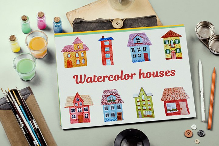 Bundle of watercolor houses